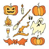 Vector Halloween set. Color pumpkin and other horror elements. Stock Photography