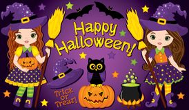 Vector Set with Cute Little Witches and Halloween Elements Royalty Free Stock Photos
