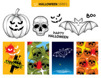 Vector Halloween set in dotwork style. Dotted black skull, bat, pumpkin isolated on white background. Stock Photo