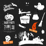 Vector Halloween set of hand drawn symbols Stock Photo