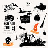 Vector Halloween set of hand drawn symbols Royalty Free Stock Images