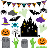 Vector Halloween Set with Scary and Cute Elements Royalty Free Stock Image