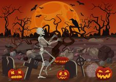 Vector halloween skeleton walking near the cemetery near pumpkins and horror forest in night. Vector halloween skeleton walking near the cemetery near pumpkins Royalty Free Stock Photos