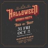 Vector,Halloween spooky party invitation card with vintage ornam Royalty Free Stock Images