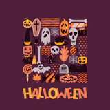 Vector Halloween square illustration with hand drawn doodle pumpkin, skull, witch hat, bones, candies, spider, ghost. Royalty Free Stock Image