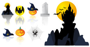 Vector Halloween symbols royalty free stock photo
