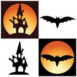 Vector halloween symbols - castle and bat Royalty Free Stock Image