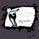 Vector Halloween template with black cat. Royalty Free Stock Photo