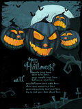Vector Halloween template with scary pumpkins Royalty Free Stock Image