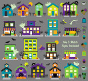 Vector Halloween Town with Haunted Houses, Shops Royalty Free Stock Photography