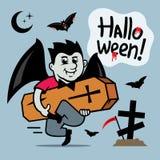 Vector Halloween, Vampire with coffin Cartoon Illustration. Stock Image