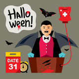Vector Halloween, Vampire Revival Cartoon Illustration. Blood transfusion is a dead man. Isolated on a color Background royalty free illustration