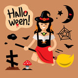 Vector Halloween Witch on broomstick Cartoon Illustration. Royalty Free Stock Photos