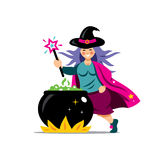 Vector Halloween Witch and cauldron Cartoon Illustration. Stock Image