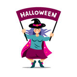 Vector Halloween Witch with festive banner. Cartoon Illustration. Magician holding hands holiday message.  on a white Background Royalty Free Stock Images