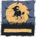 Vector Halloween Witch. Vector image with Flying Witch On Broom Royalty Free Stock Photography