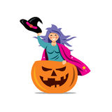 Vector Halloween Witch in pumpkin Cartoon Illustration. Stock Photo