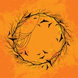 Vector Halloween wreath orange background Stock Photography