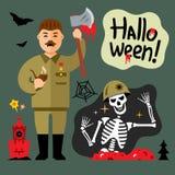 Vector Halloween Zombie Cartoon Illustration. Royalty Free Stock Photography