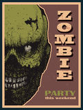 Vector Halloween zombie party banner Stock Images