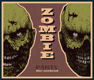 Vector Halloween zombie party banner Stock Photos