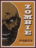 Vector Halloween zombie party banner Royalty Free Stock Photography
