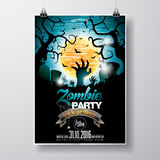 Vector Halloween Zombie Party Flyer Design with typographic elements on blue background. Graves and moon. Royalty Free Stock Image