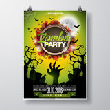 Vector Halloween Zombie Party Flyer Design with typographic elements on green background. Graves and moon. Royalty Free Stock Photography