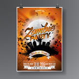 Vector Halloween Zombie Party Flyer Design with typographic elements on orange background. Graves and moon. Royalty Free Stock Photography