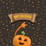 Vector halloweenrock n roll pumpkin character Stock Photos