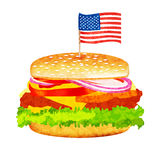 Vector hamburger with meat, lettuce, cheese and tomato. Royalty Free Stock Images