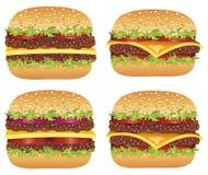 Vector hamburgers and cheeseburgers Royalty Free Stock Photography