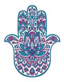 Vector hamsa hand drawn symbol with ethnic floral ornaments in Pink and Blue colors. vector illustration
