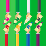 Vector hand arm illustration color tube background set icon Stock Photos
