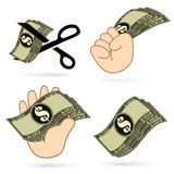 Vector hand with banknotes Royalty Free Stock Photography