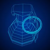 Vector hand bomb. Hand bomb frag grenade wireframe low poly mesh vector illustration Stock Images