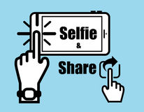 Vector : Hand click selfie on smart phone and click share icon Royalty Free Stock Photography