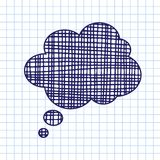 Vector hand draw callout icon. On exercise book sheet background. Eps10 Royalty Free Stock Image