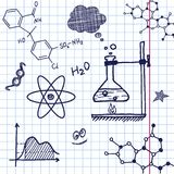 Vector Hand draw chemistry elements. On exercise book sheet background. Eps10 Royalty Free Stock Photo