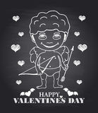 Vector hand draw Cupid on black chalkboard Royalty Free Stock Photos