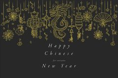 Vector hand draw design for Chinese New Year greetings card golden color. Typography and icon for Xmas background. Banners or posters and other printables royalty free illustration