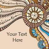 Vector hand draw ethnic background. Vector hand drawing doddle ethnic pattern. Background with geometric elements. Eps10 Royalty Free Stock Photo