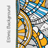 Vector hand draw ethnic background. Vector hand drawing doddle ethnic pattern. Background with geometric elements. Eps10 Stock Photo