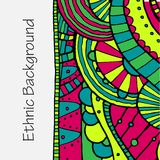 Vector hand draw ethnic background. Vector hand drawing doddle ethnic pattern. Background with geometric elements. Eps10 Stock Images