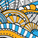 Vector hand draw ethnic background. Vector hand drawing doddle ethnic pattern. Background with geometric elements. Eps10 Stock Photography