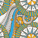 Vector hand draw ethnic background. Vector seamless hand drawing doddle ethnic pattern. Background with geometric elements. Eps10 Royalty Free Stock Photos