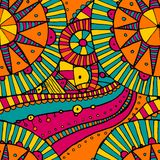 Vector hand draw ethnic background. Vector seamless hand drawing doddle ethnic pattern. Background with geometric elements. Eps10 Royalty Free Stock Photo