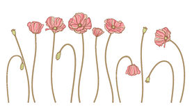 Vector hand draw flowers set isolated on white Royalty Free Stock Photos