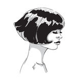 Vector hand draw illustration of woman face. With bob haircut isolated on white background Royalty Free Stock Images