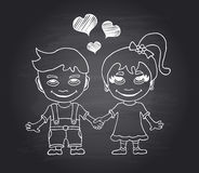 Vector hand draw loving boy and girl on black chalkboard Royalty Free Stock Photography